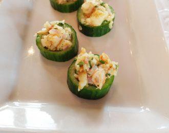 Curried Shrimp Salsa in a Cucumber Cup (DF, GF)