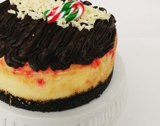 Candy Cane and Dark Chocolate Cheesecake