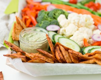 Vegetables, Pita Chips and Dips
